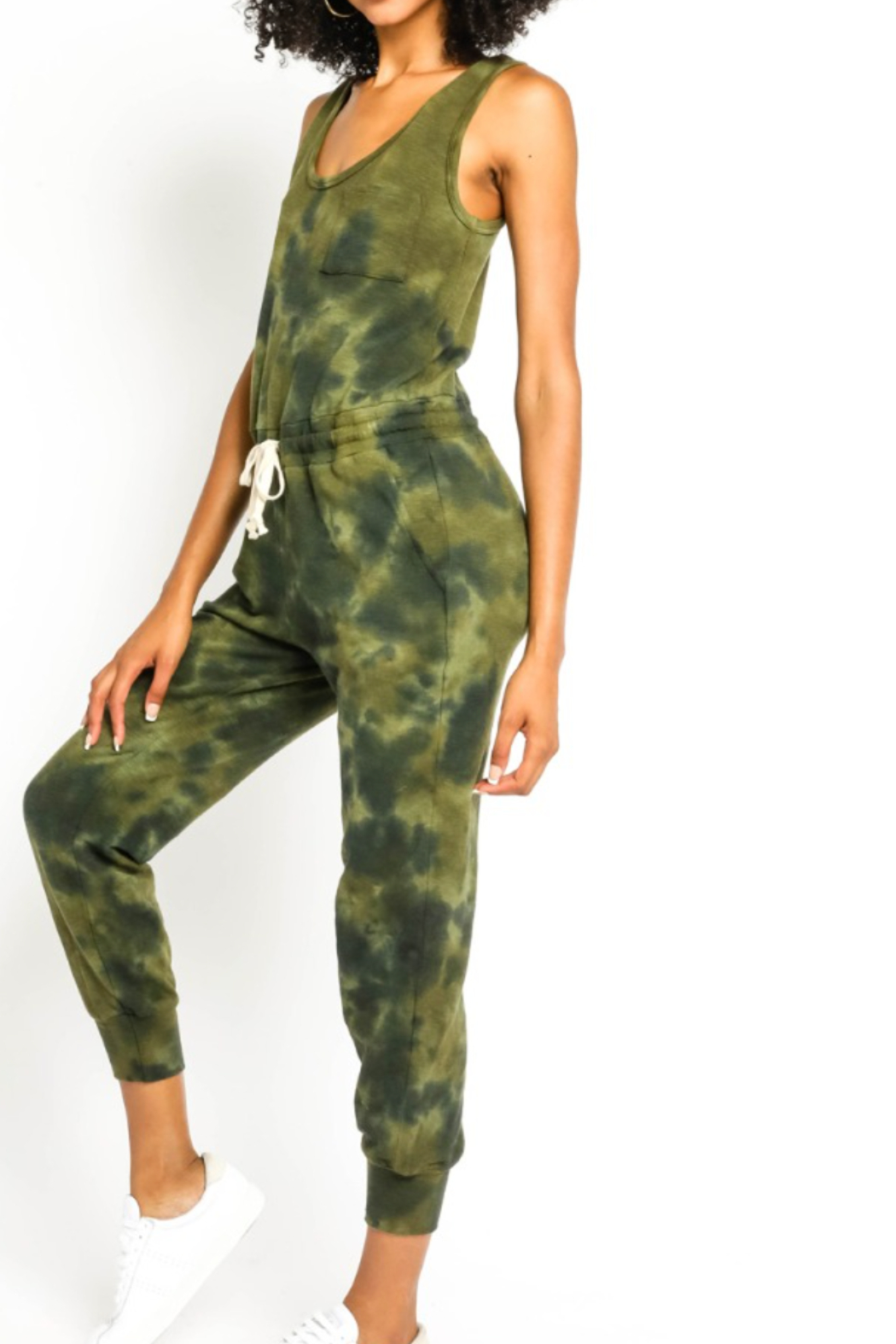 Olivaceous  Olive Tie Dye Jumpsuit - Front Full Image