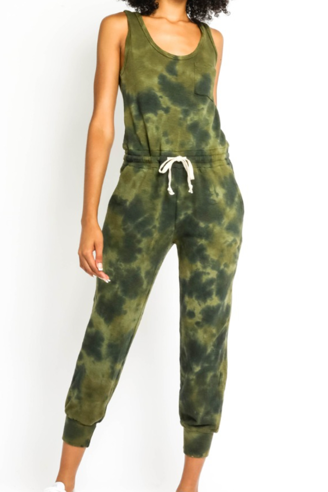 Olivaceous  Olive Tie Dye Jumpsuit - Front Cropped Image
