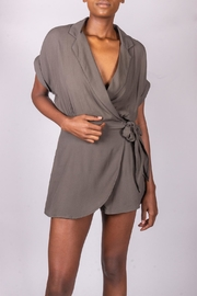 Final Touch Olive Tie-Front Romper - Front cropped