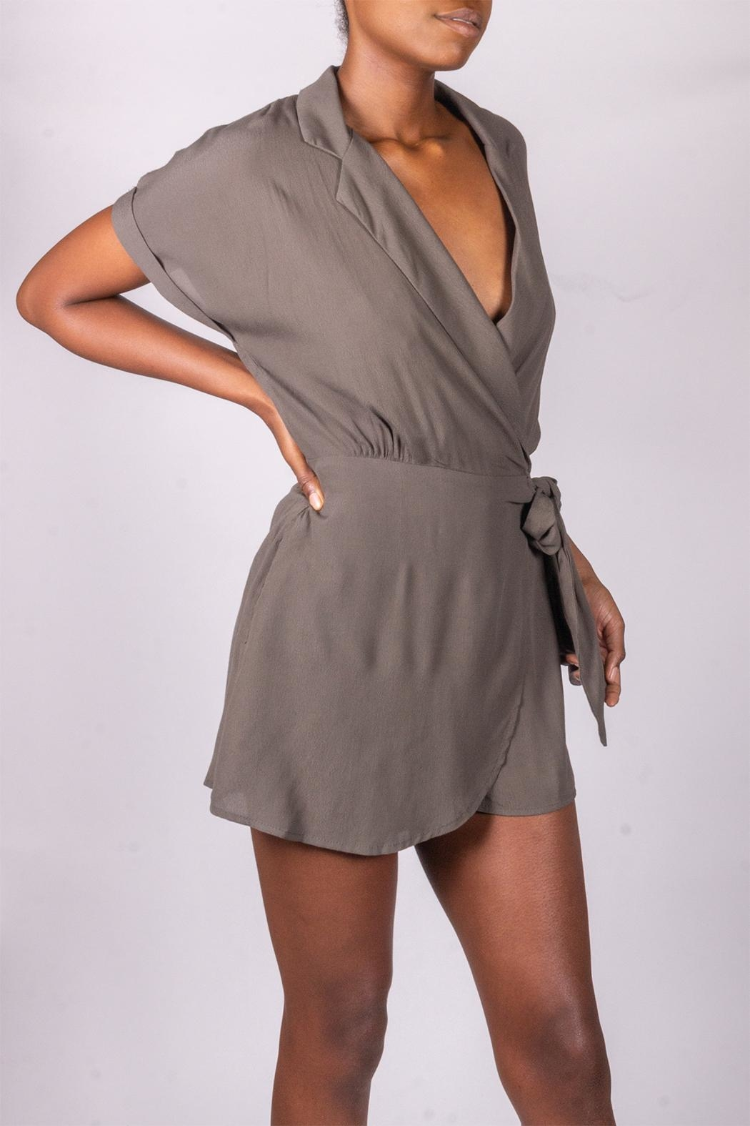 Final Touch Olive Tie-Front Romper - Side Cropped Image