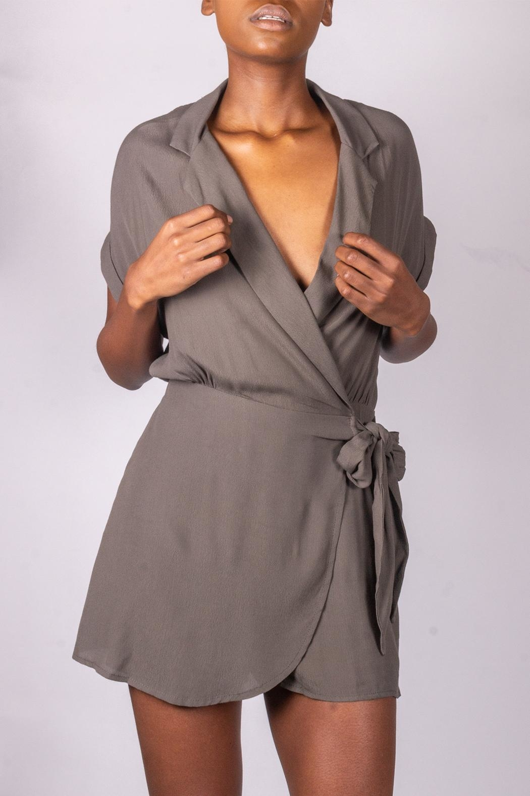 Final Touch Olive Tie-Front Romper - Front Full Image