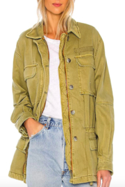 Free People Olive Utility Jacket - Front cropped
