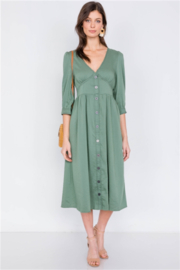 lelis Olive V-Neck Front Button 3/4 Balloon Puff Sleeve Casual Midi Dress - Product Mini Image
