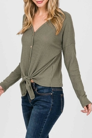 Lazy Sundays Olive-Waffle Button-Down Top - Product Mini Image