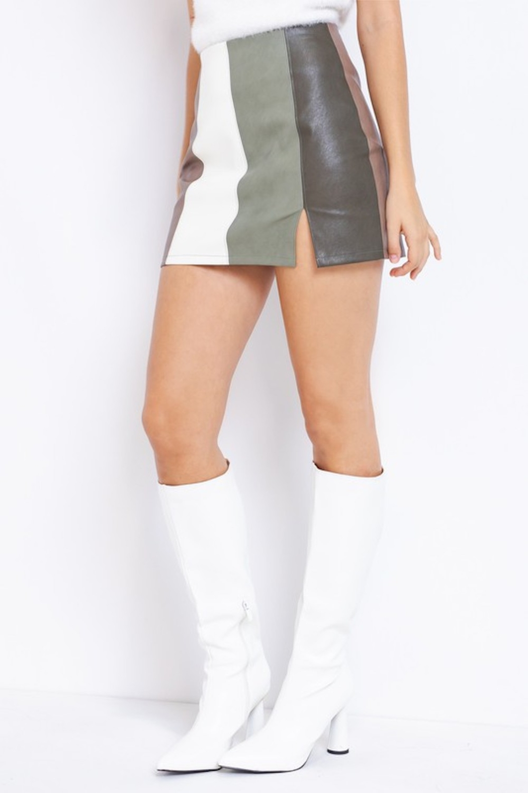 Le Lis Olive You Color Block Skirt - Front Cropped Image