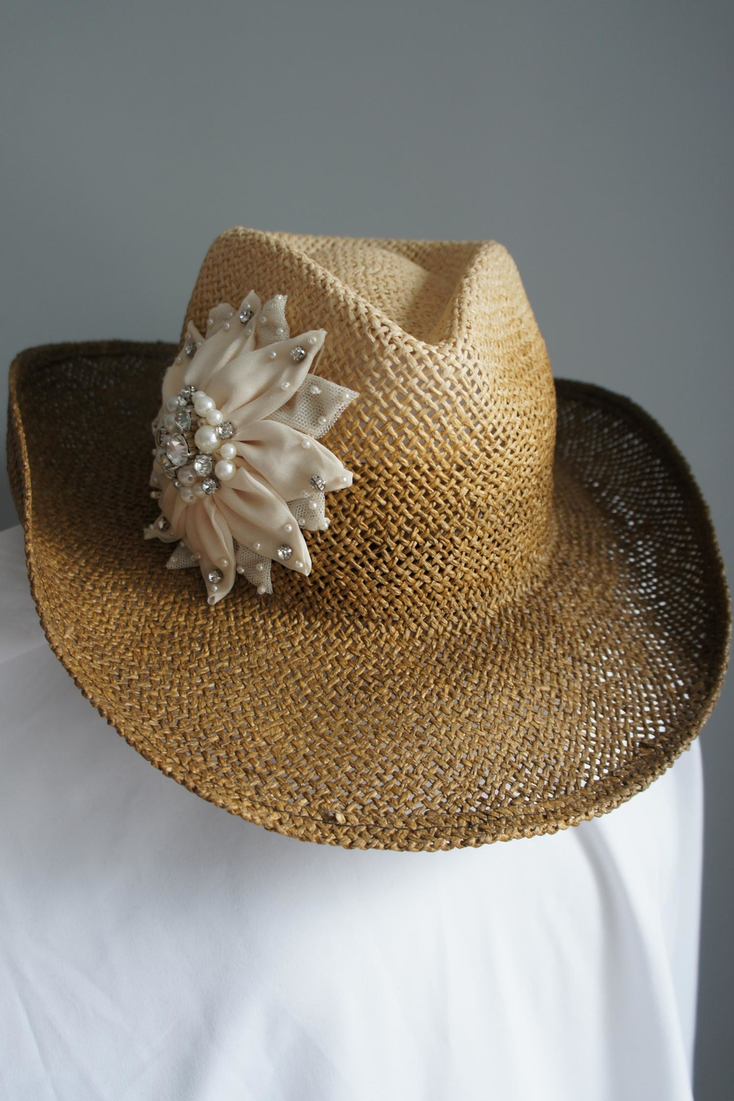 Olive & Pique Embellished Flower Cowgirl-Hat - Main Image