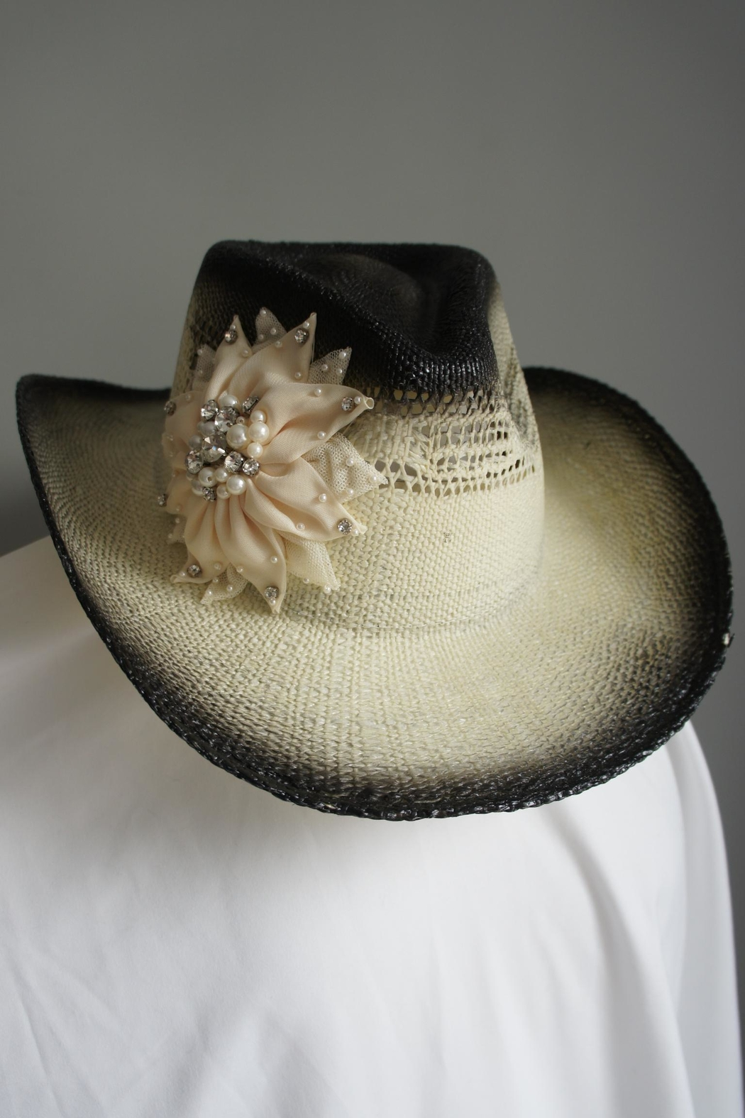 Olive & Pique Embellished Flower Cowgirl-Hat - Front Cropped Image