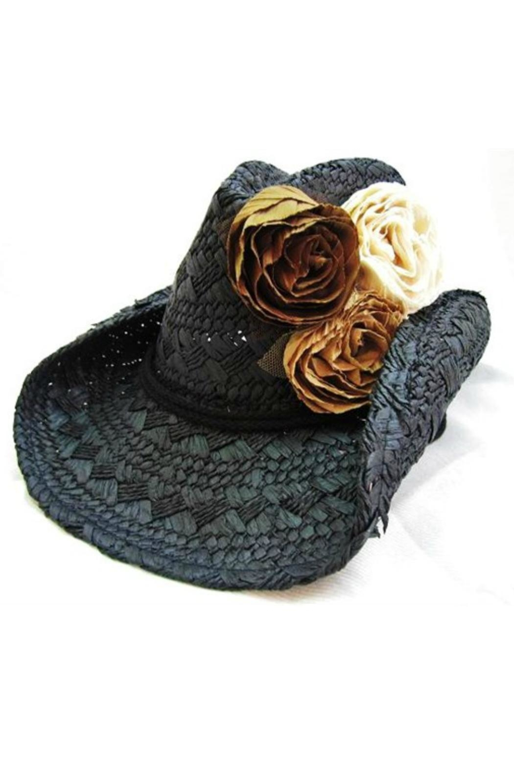 Olive & Pique Fabric-Rosette Cowgirl Hat - Front Cropped Image