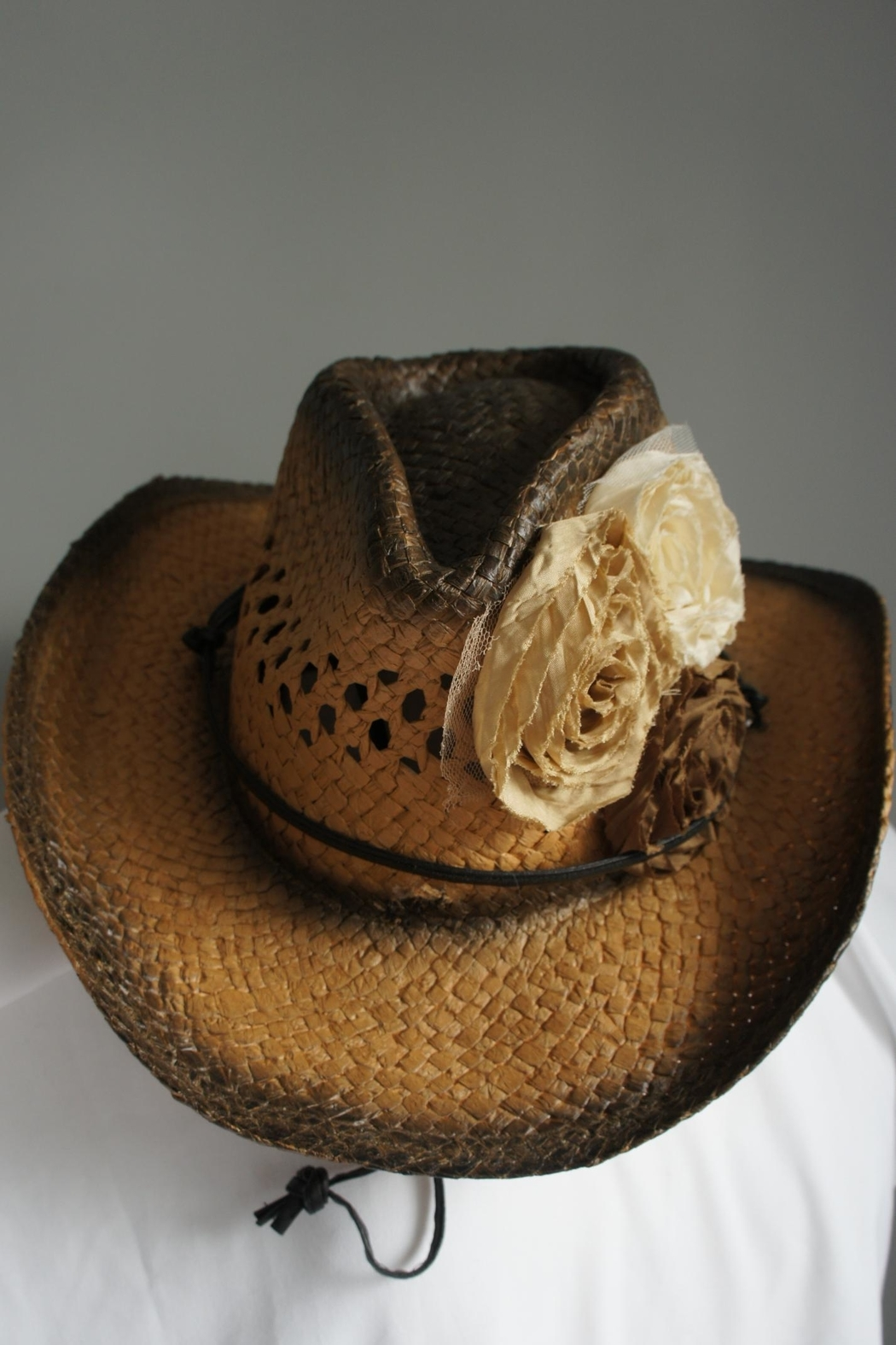 Olive & Pique Two-Tone Fabric-Flower Hat - Main Image