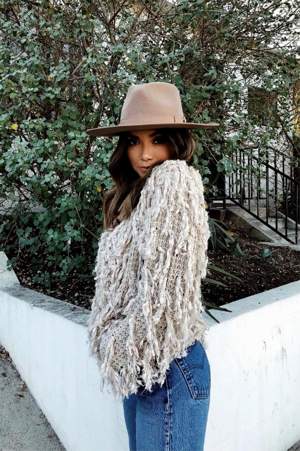 olive and pique Barrymore Rancher Hat - Back Cropped Image