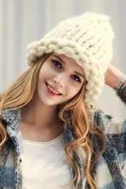 olive and pique Winter White Loose Knit Beanie - Product Mini Image