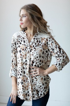Olive Hill Animal Tie Blouse - Product List Image