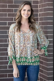 Olive Hill Border Print Blouse - Front cropped