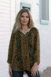 Olive Hill Cheetah Peasant Blouse - Product Mini Image