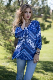 Olive Hill Cobalt Abstract Blouse - Product Mini Image