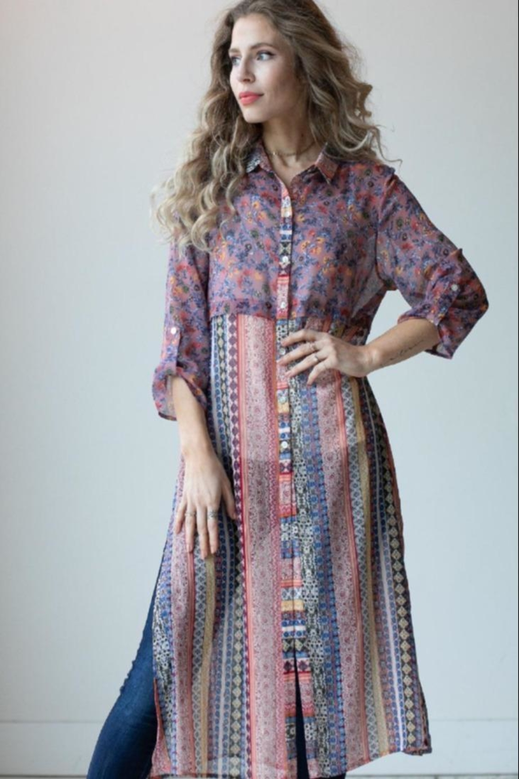 Olive Hill Colorful Button-Up Tunic - Main Image