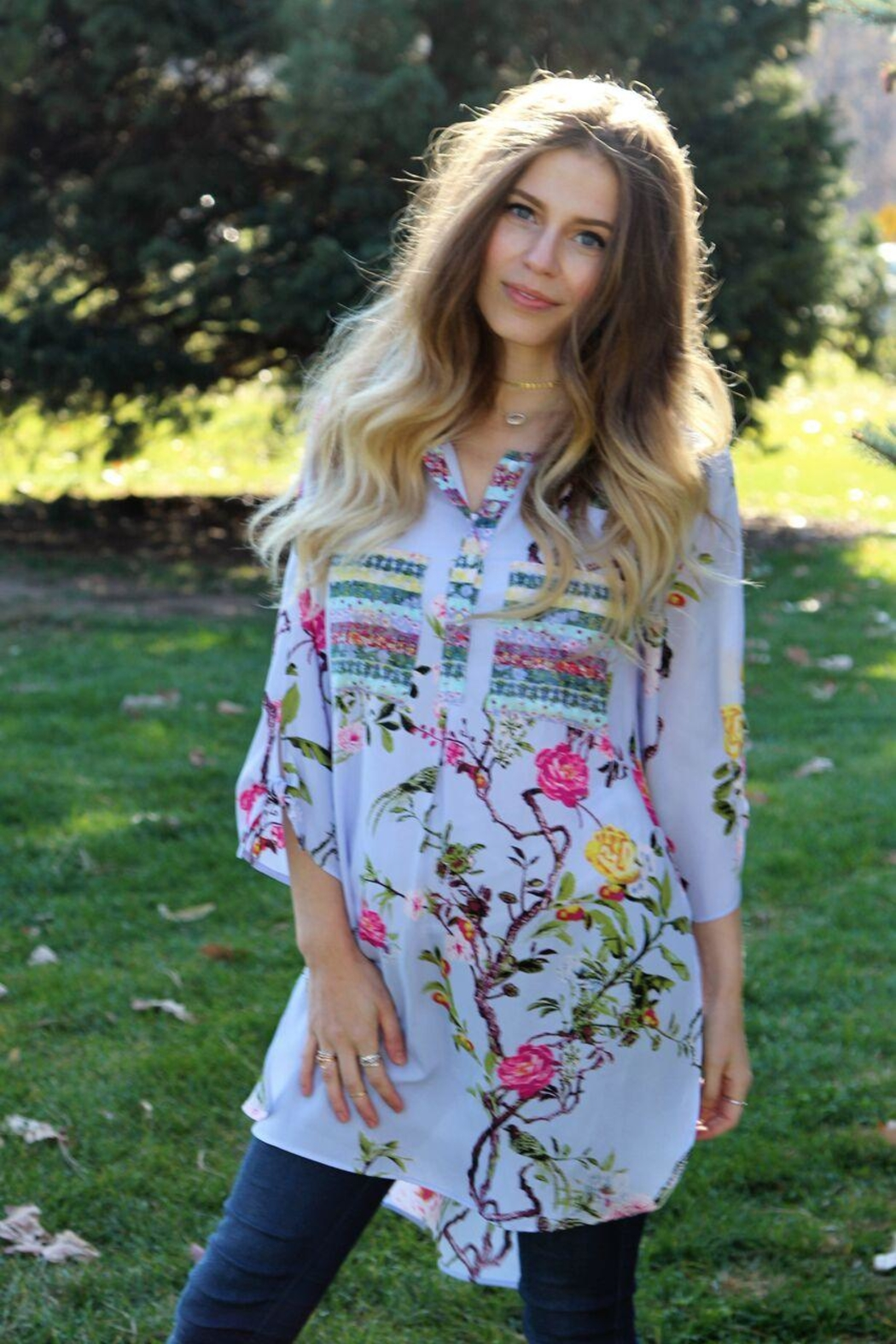 ad619c84592e Olive Hill Colorful Floral Tunic from Cambria by New Moon — Shoptiques