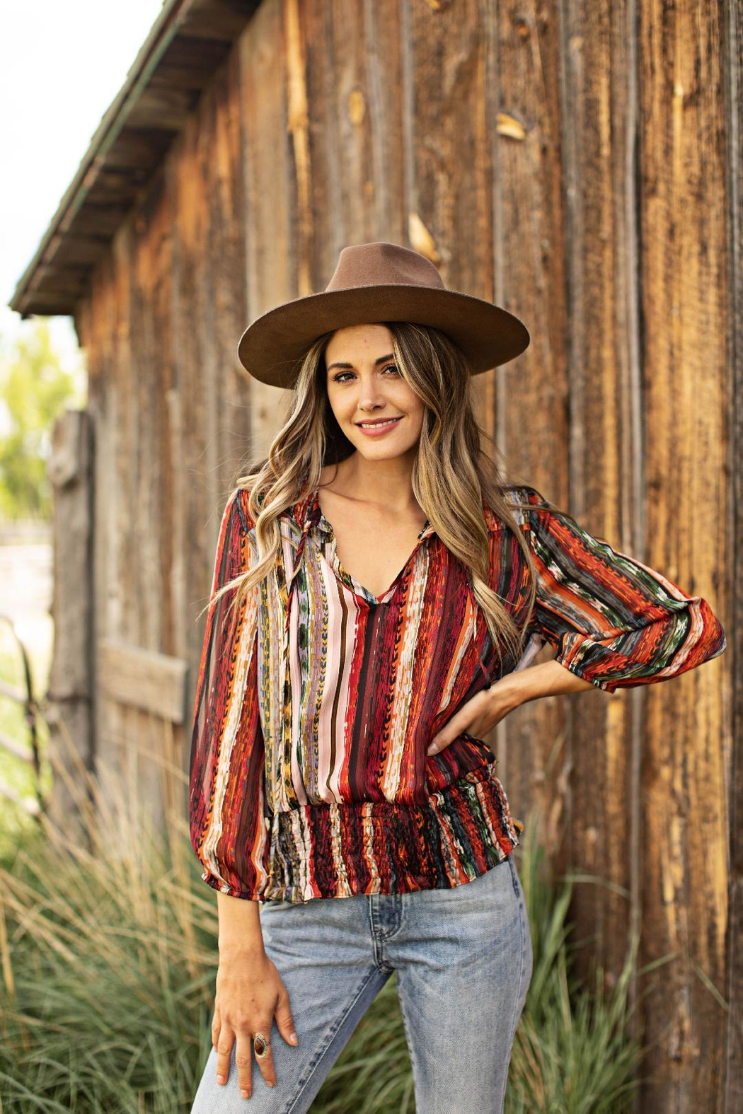 Olive Hill Colorful Stripe Blouse - Main Image
