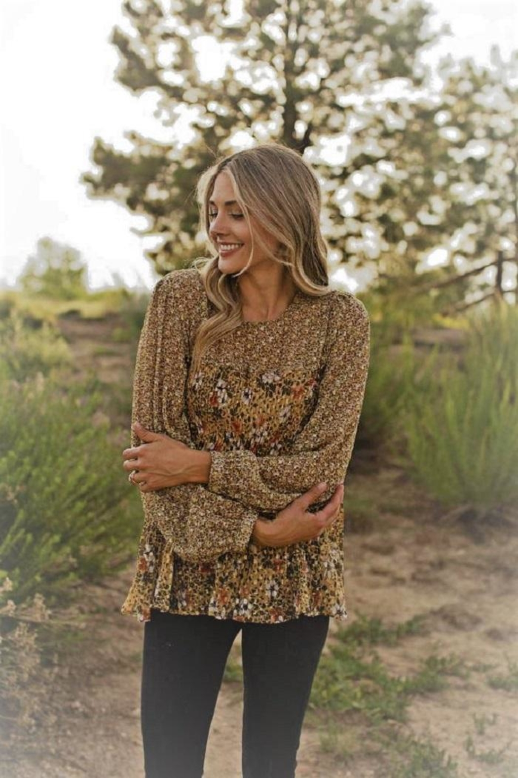 Olive Hill Contrasting Floral Blouse - Main Image