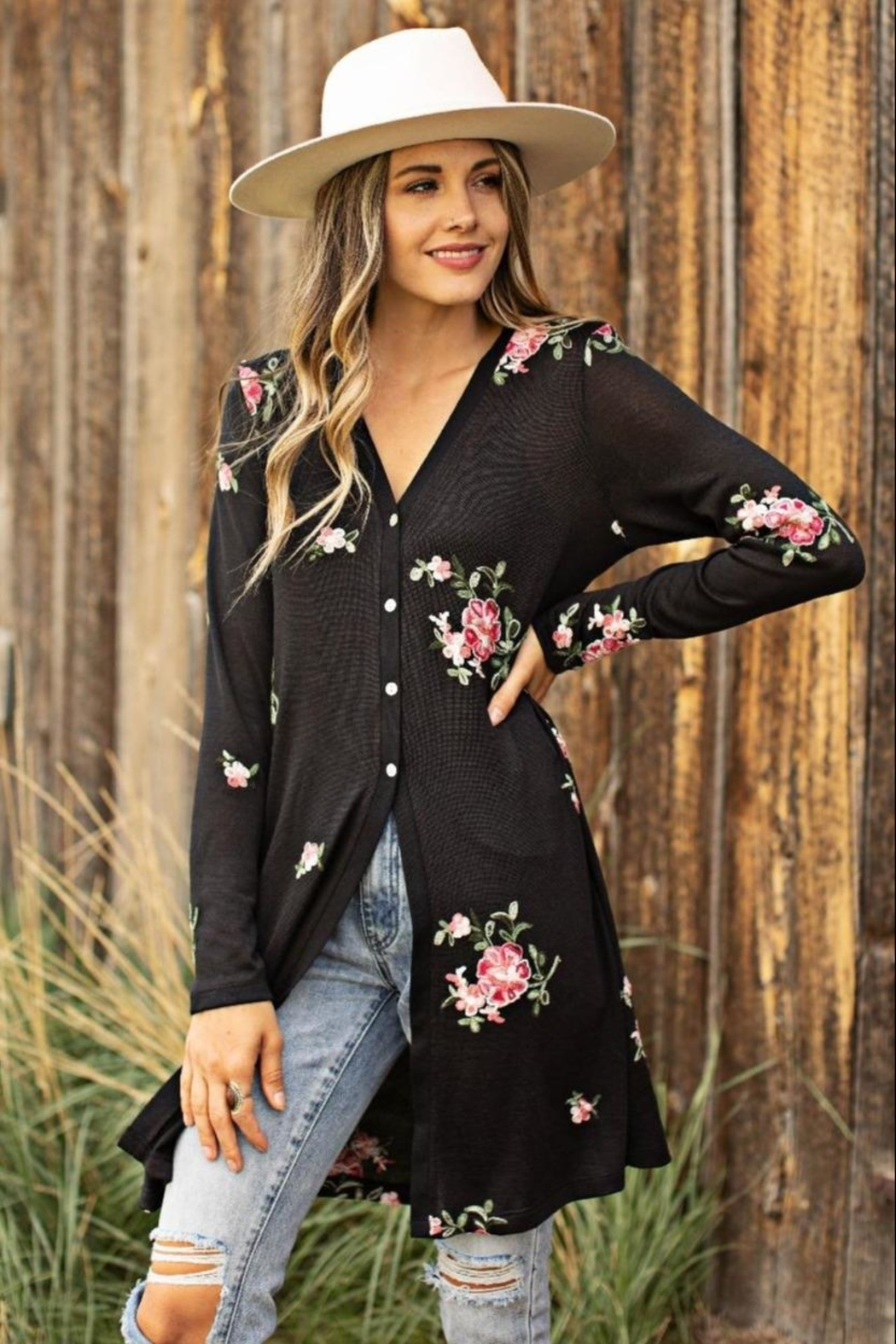Olive Hill Embroidered Duster Cardigan - Main Image
