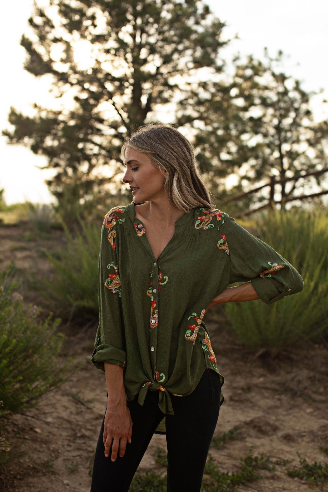 Olive Hill Embroidered Tie Blouse - Front Cropped Image