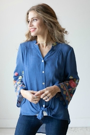 Olive Hill Embroidered Tie Blouse - Product Mini Image