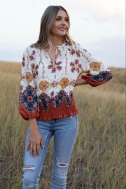 Olive Hill Floral Peasant Top - Product Mini Image