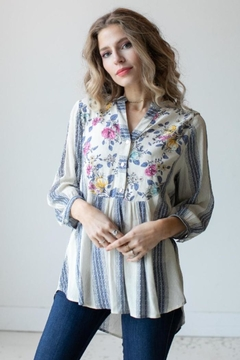 Olive Hill Floral Stripe Blouse - Product List Image