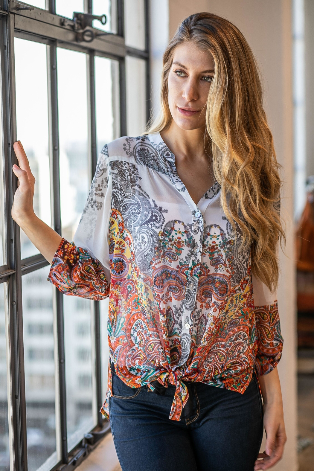 Olive Hill Paisley Tie Blouse - Main Image