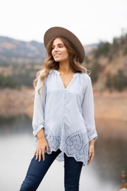 Olive Hill Scallop Lace Blouse - Front cropped