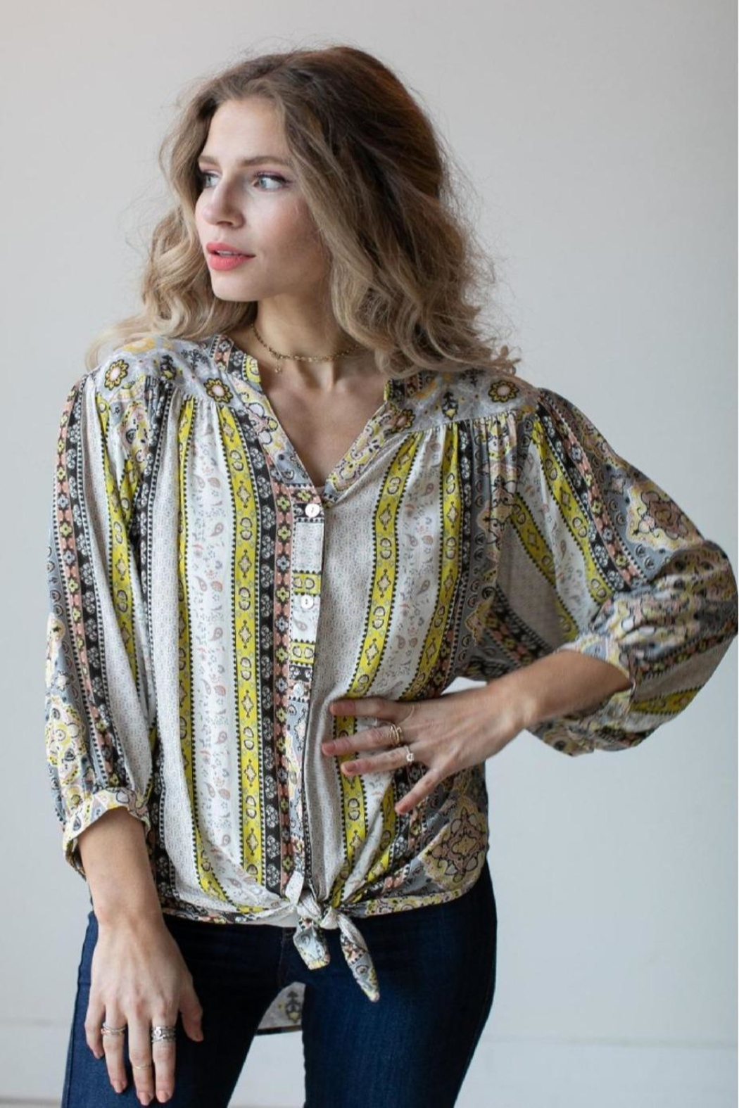 Olive Hill Scroll Tie Blouse - Main Image