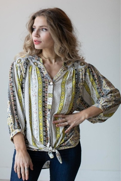 Olive Hill Scroll Tie Blouse - Alternate List Image