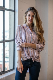 Olive Hill Stripe Floral Blouse - Front cropped