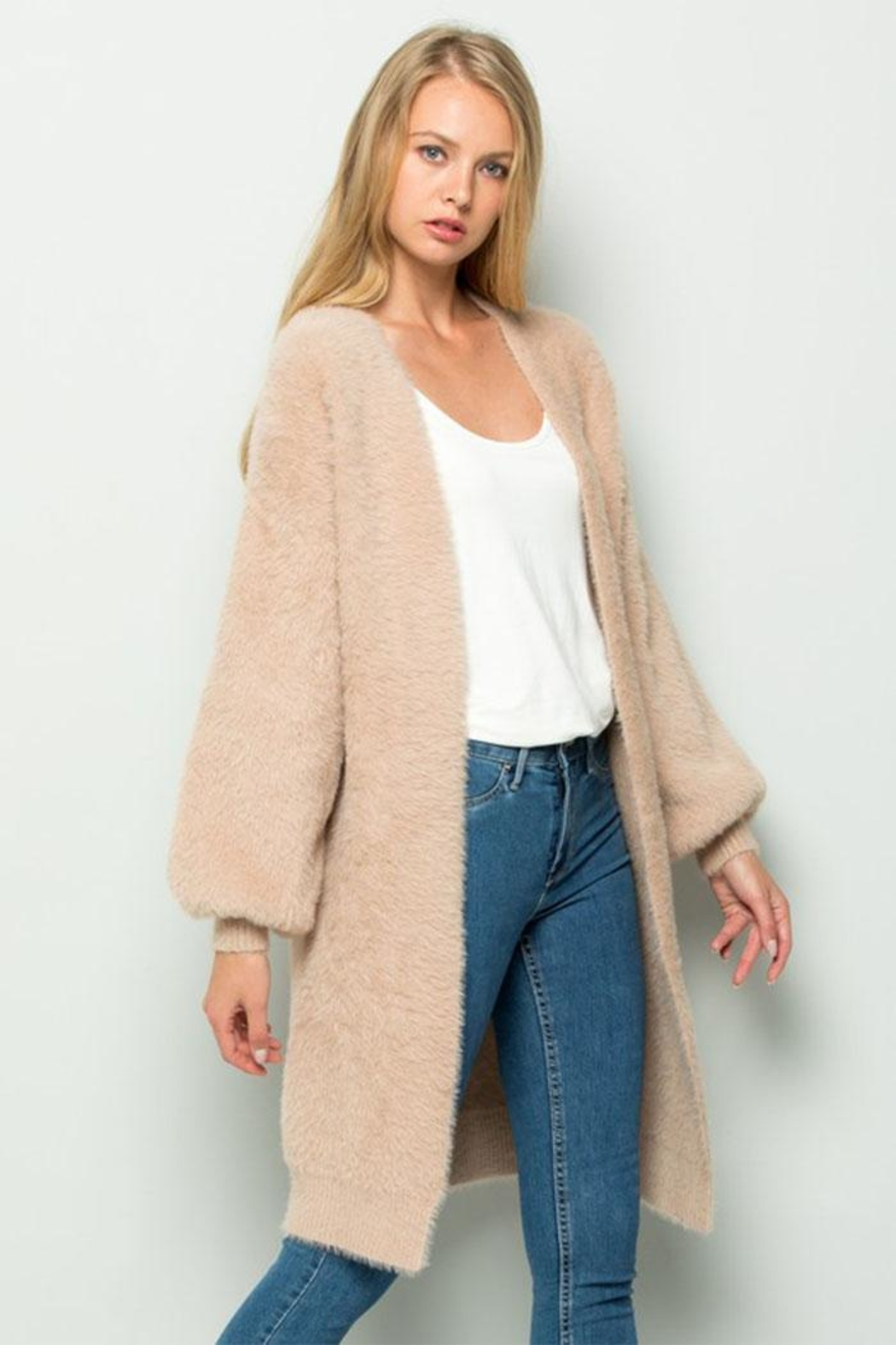 Olive Scent Long Fuzzy Cardigan - Side Cropped Image