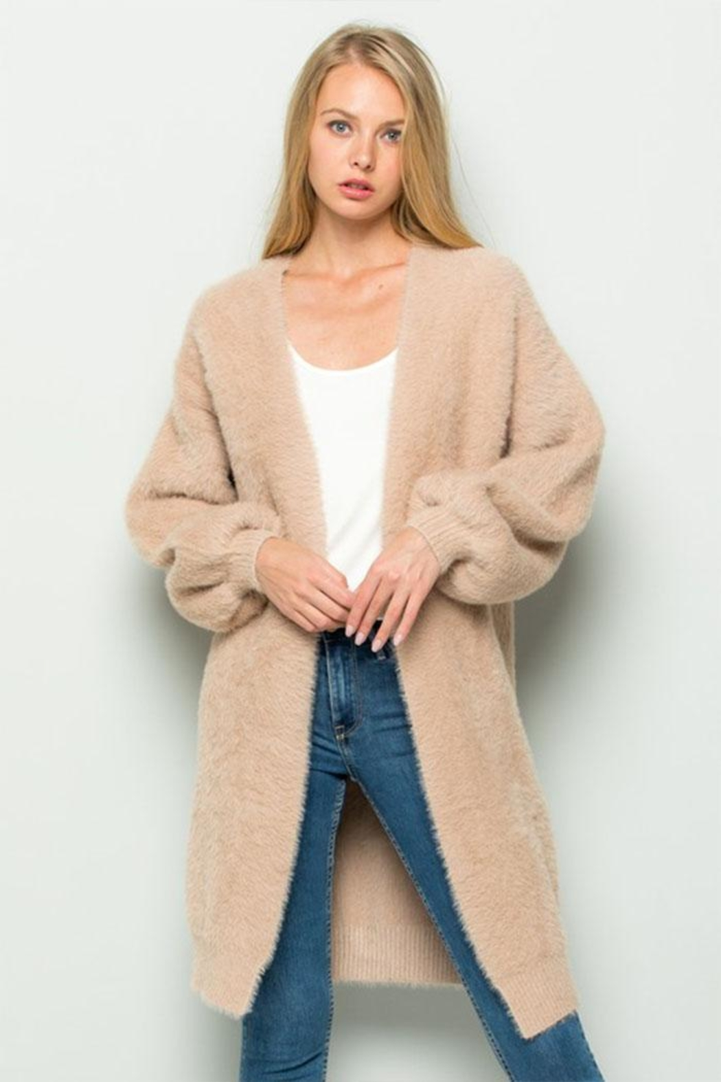 Olive Scent Long Fuzzy Cardigan - Main Image