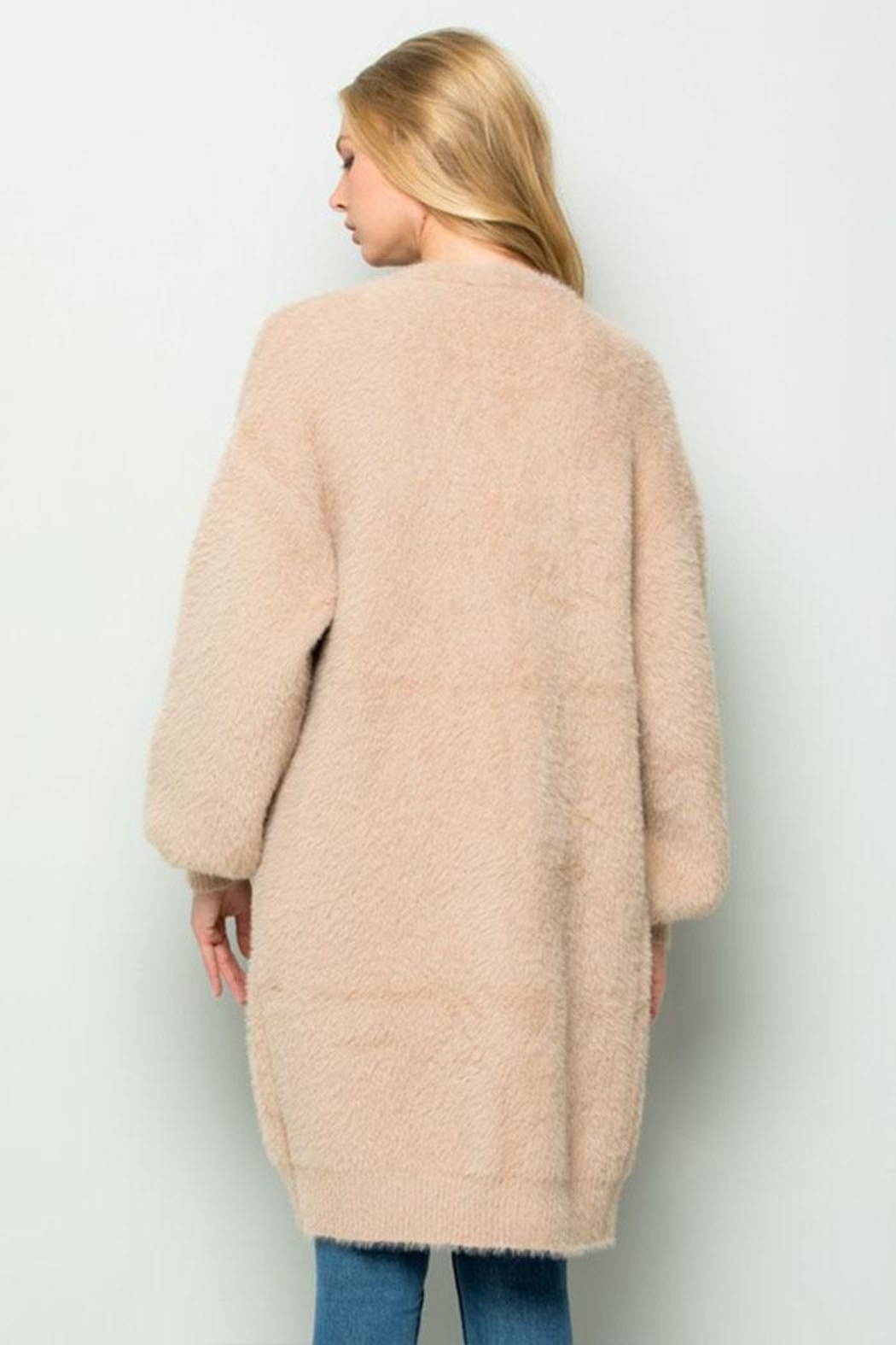 Olive Scent Long Fuzzy Cardigan - Back Cropped Image
