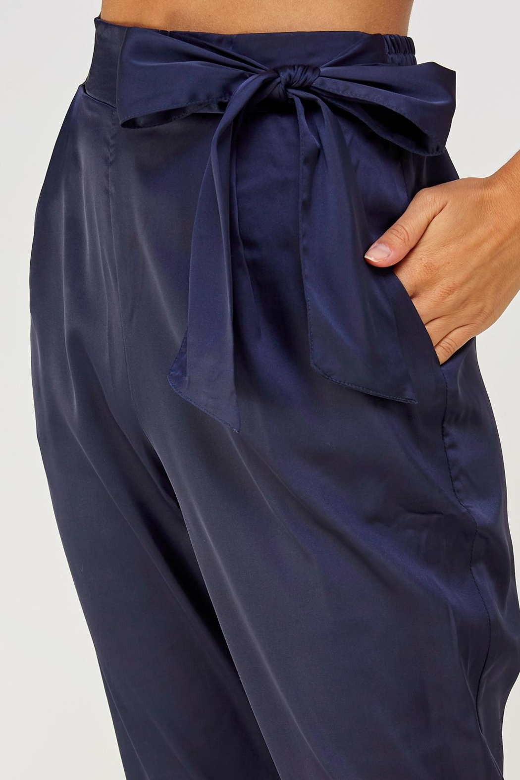 Olive Scent Side Tie Pants - Front Full Image
