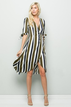 Olive Scent Striped Wrap Dress - Product List Image