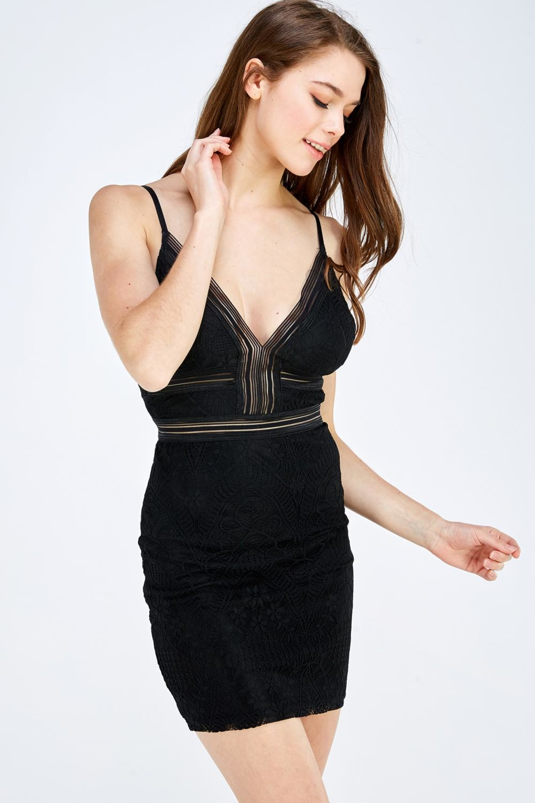 Olive Tree Lace Bodycon Dress - Side Cropped Image