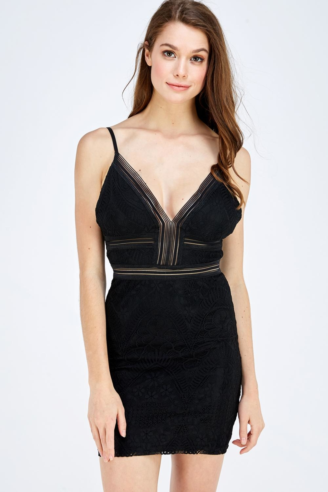 Olive Tree Lace Bodycon Dress - Front Cropped Image