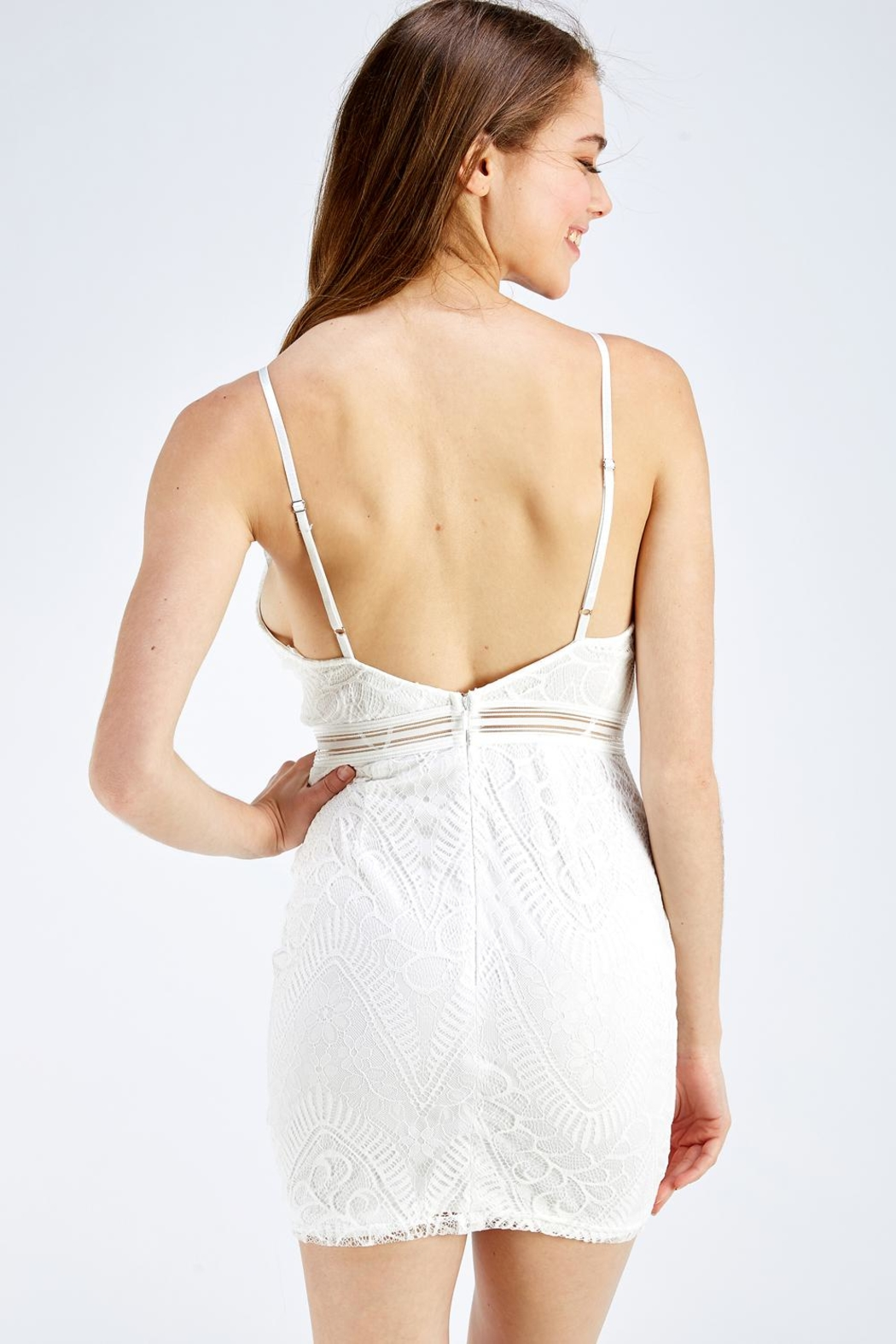 Olive Tree Lace Bodycon Dress - Back Cropped Image