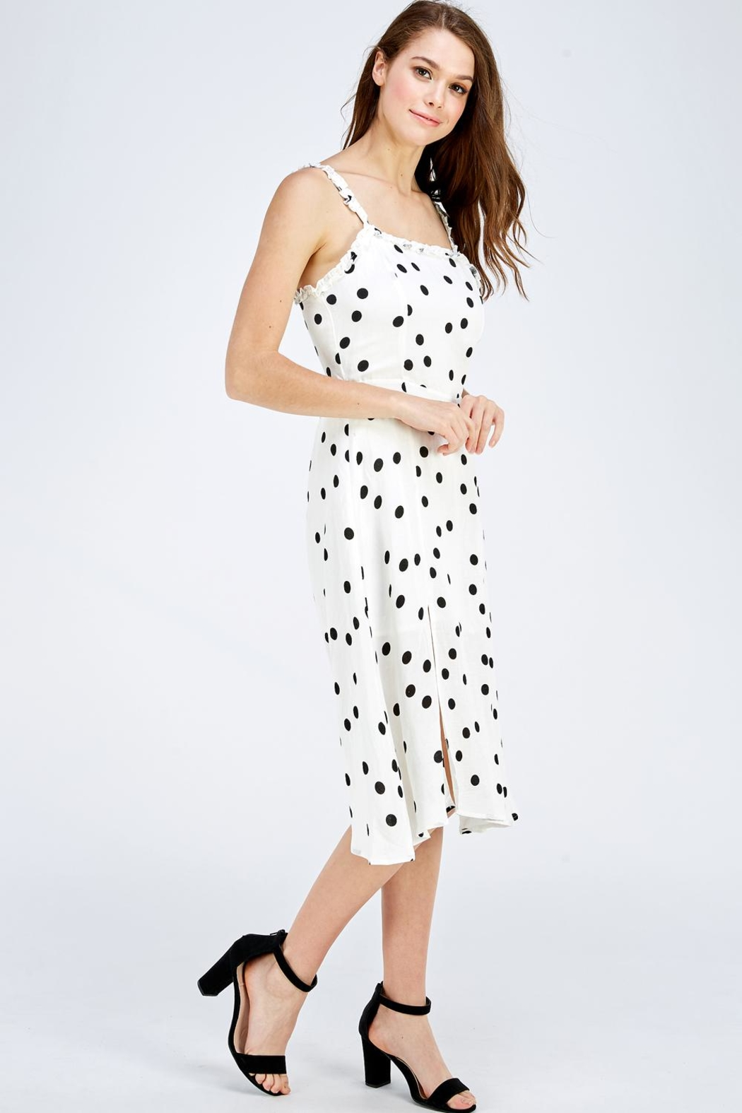 Olive Tree Polka Dot Dress - Side Cropped Image