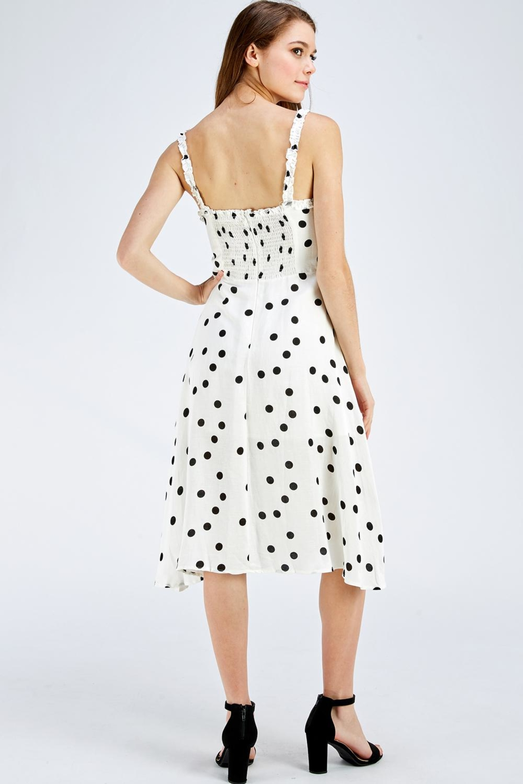 Olive Tree Polka Dot Dress - Back Cropped Image