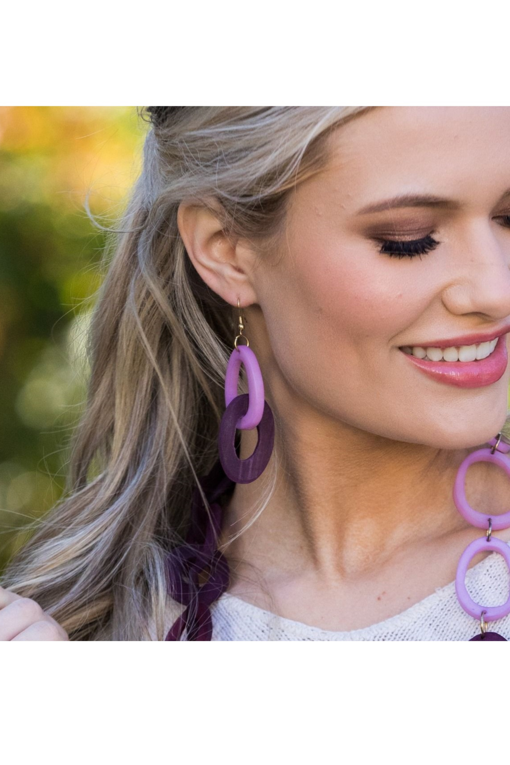 Anju Handcrafted Artisan Jewelry Omala Primrose & Plum Earrings - Front Full Image