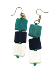 Anju Handcrafted Artisan Jewelry Omala Triple Square Earrings - Product Mini Image