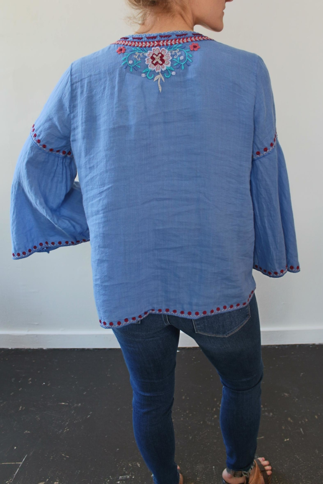 Johnny Was Oman Laceup Blouse - Front Full Image