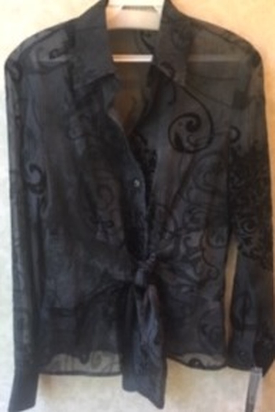 Robert Kitchen Black and grey ombre button down sheer blouse - Main Image
