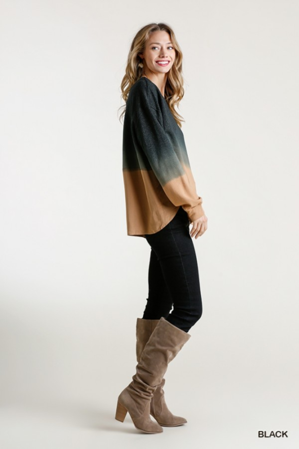 umgee  Ombre Crew with Linen Trim - Side Cropped Image