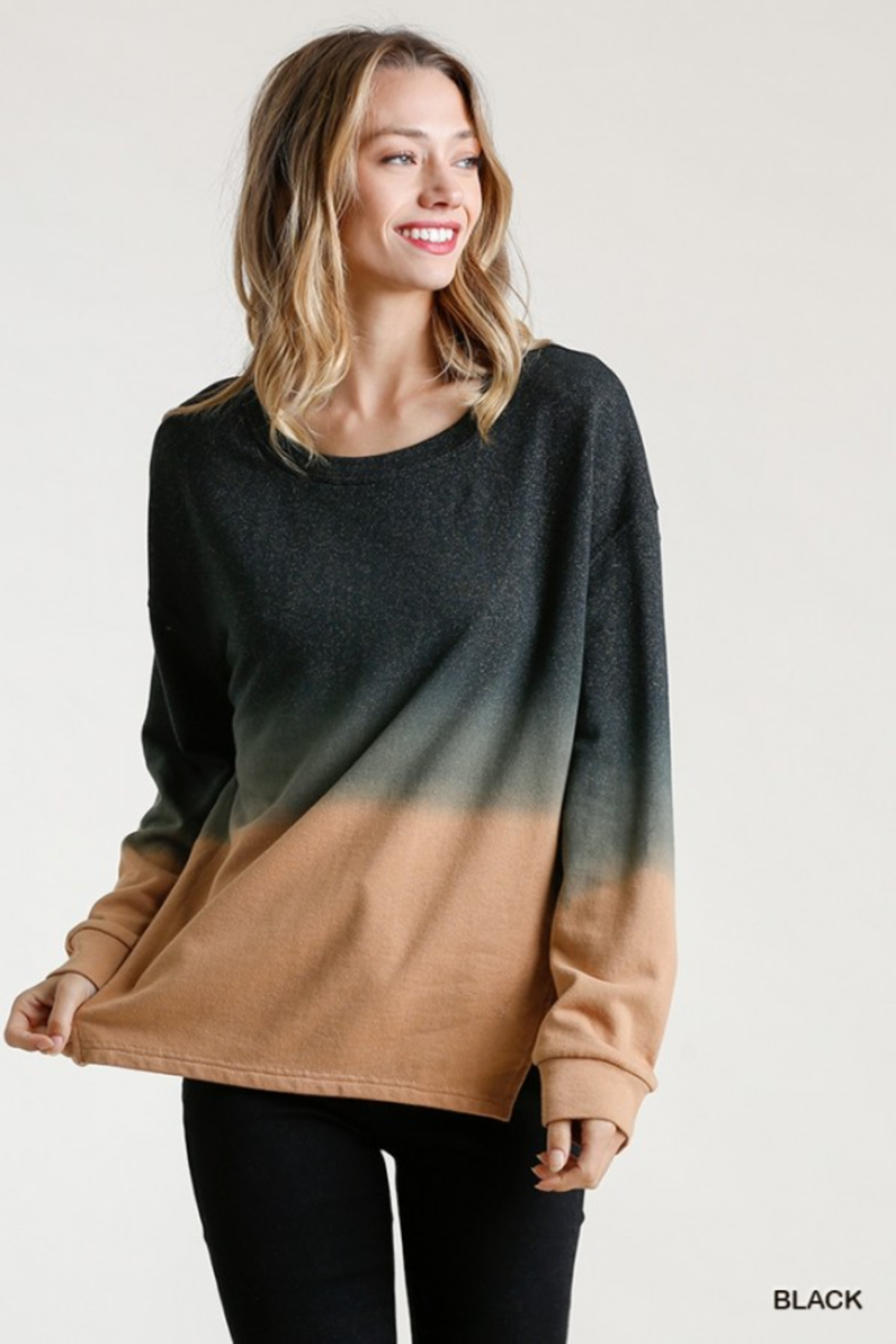 umgee  Ombre Crew with Linen Trim - Main Image