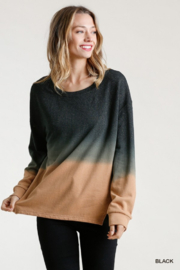 umgee  Ombre Crew with Linen Trim - Front cropped